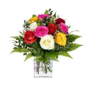 Buquê de rosas de várias cores