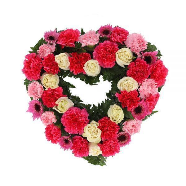 Coração para funeral em tons cor de rosa