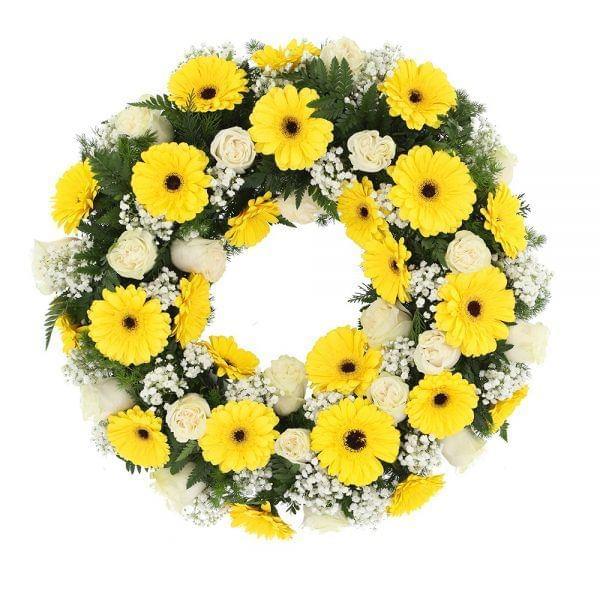 Coroa de rosas e gerberas para funeral