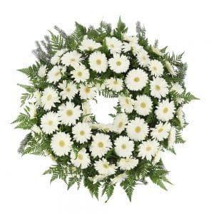 Coroa de gerberas brancas para funeral