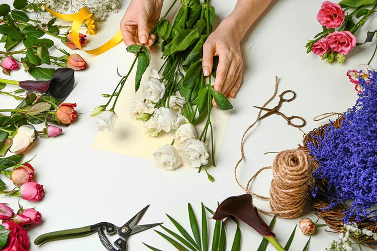 buquê de flores com dedicatória