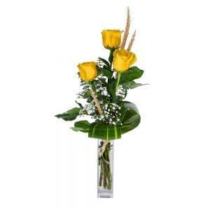 Ramo de 3 rosas amarelas
