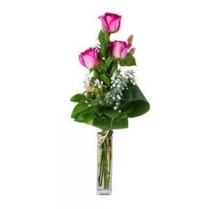 Ramo de 3 rosas cor de rosa