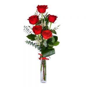 Ramo de 5 rosas vermelhas